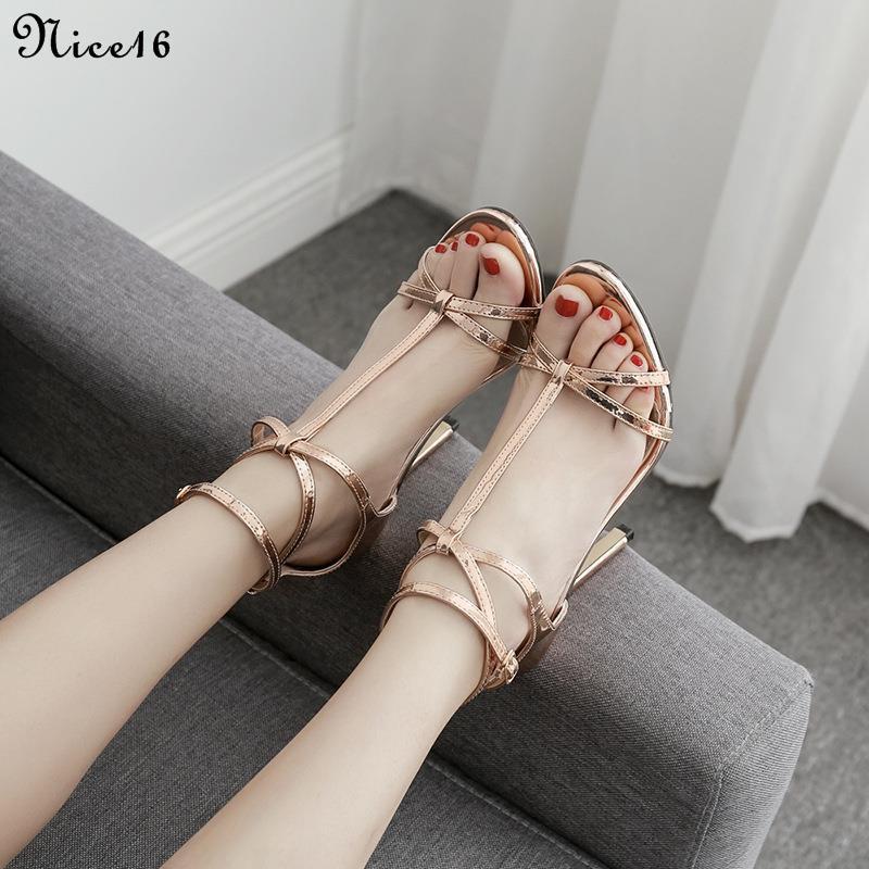 [Ladies sandals]Sexy ankle strap high heels Roman sandals thin strap women