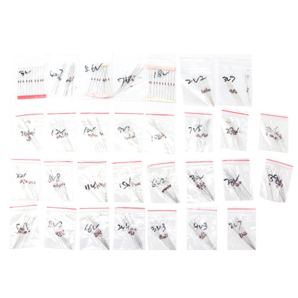 ♥300Pcs 30 Values 2V-39V 1/2 W 0.5 W Zener Diode Package Kit Assortment Set