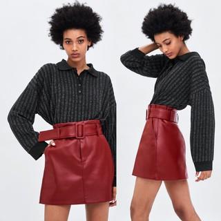 Chân váy da ZR màu đỏ- hàng Cambo xịn full tag
