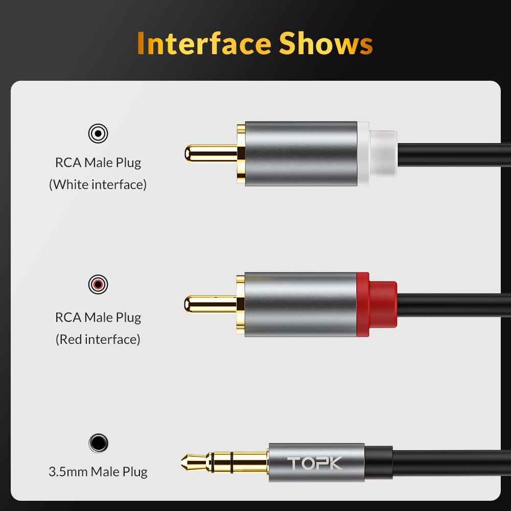 [Chính Hãng] Dây Cáp Âm Thanh TOPK L14 Chuyển Đổi 2 Jack Cắm RCA Sang Jack 3.5mm Chuyên Dụng Dài 1Mét - Bảo Hành 1 Tháng