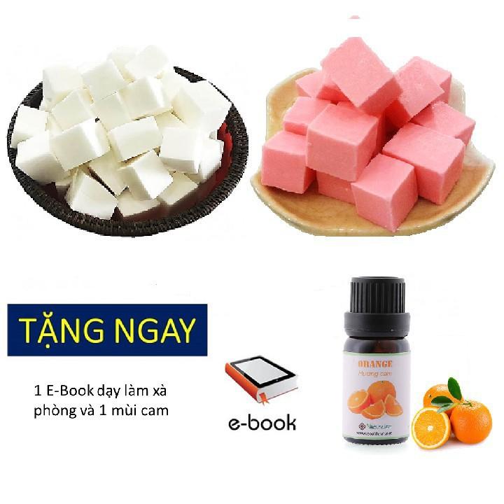 Combo phôi xà phòng glycerin màu trắng 1kg và hồng pink 1kg  tặng mùi cam (orange) Ecolife