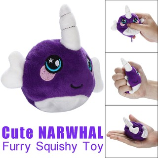 9cm Furry Squishies Cute Narwhal Foamed Stuffed Slow Rising Squeeze Stress Toys
