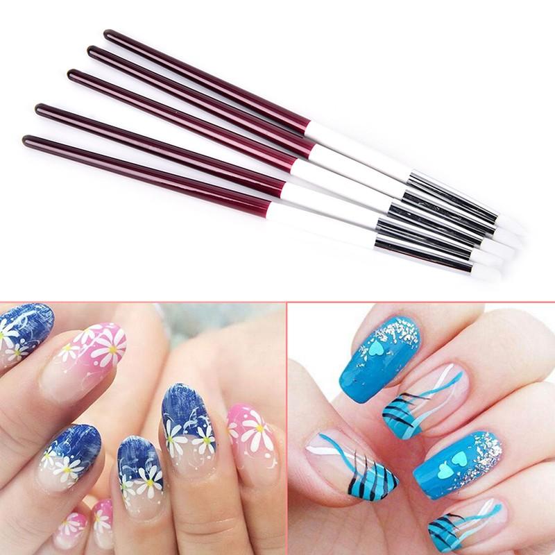 VN] 5X Mini Nail Art Silicone Rubber Brush Drawing Pen