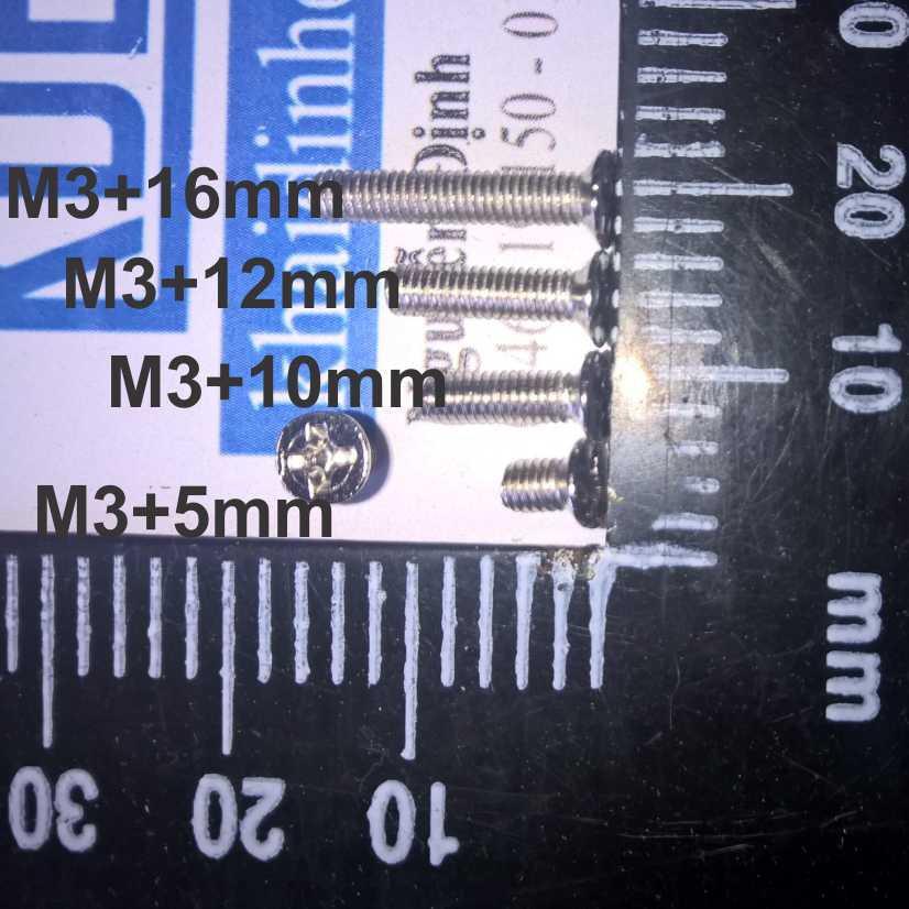 [Hàng Mới] 100 con bulong, vít pake M3 KM3 inoc inox 4 chấu đầu +, đầu phẳng ( gói 100 cái ) kde0428 Giá chỉ 23.000₫