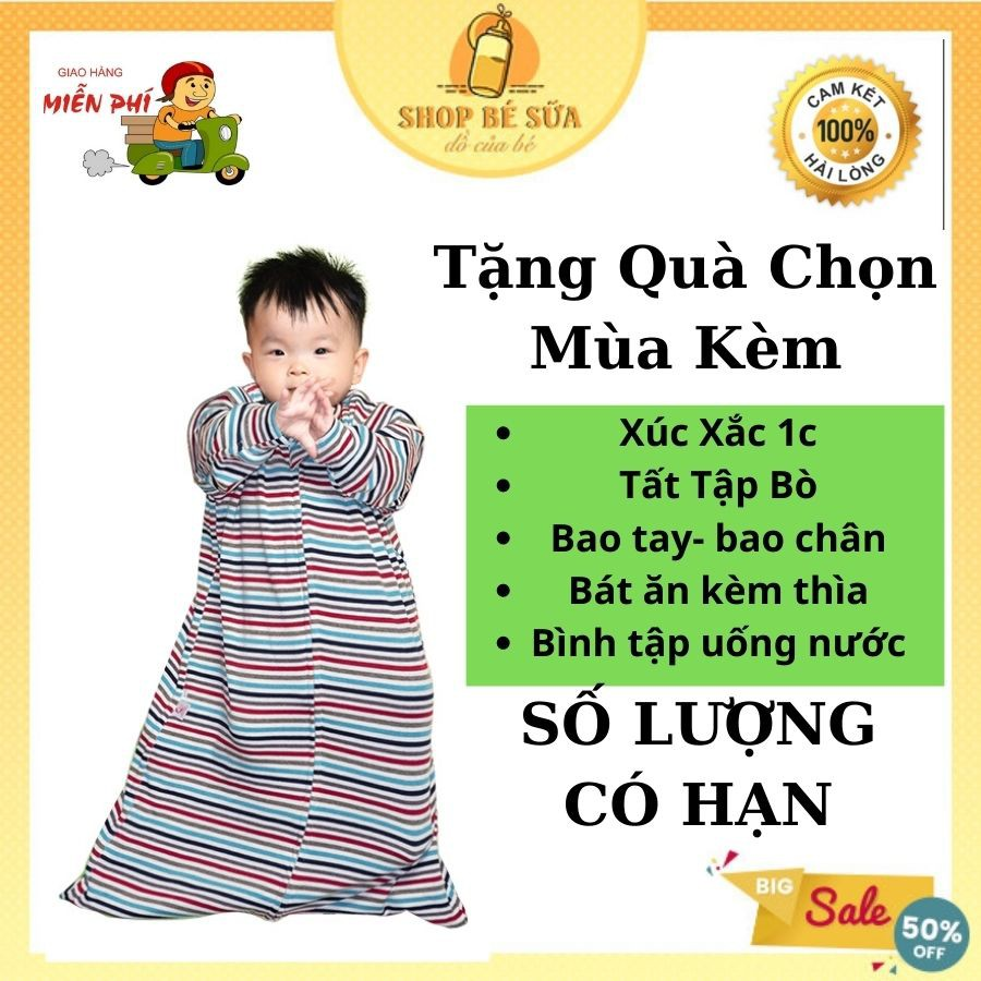 Túi Ngủ Cho Bé NOONON FREESHIP Cao Cấp Có Ống Tay Tháo Rời - Bé từ 3 Tháng Đến 5 Tuổi -Nhộng Chũn Hè Thu Đông Mã TNHT01