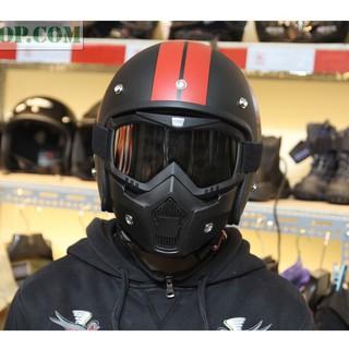Bán buôn – Mặt Nạ Kèm Kính BEON ĐEO MŨ 3/4, mũ cào cào – chống bụi, tia UV, bảo vẹ mắt khi đi xe máy