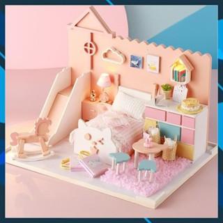 Mô hình nhà búp bê gỗ DIY Mô hình nhà búp bê lắp ghép có đèn Mẫu Meow Meow Mia Toy World thumbnail