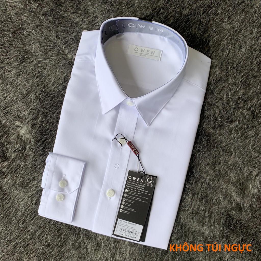 (ẢNH THẬT)  Áo sơ mi trắng dài tay Owen chất poly spun (có túi/không túi ngực)