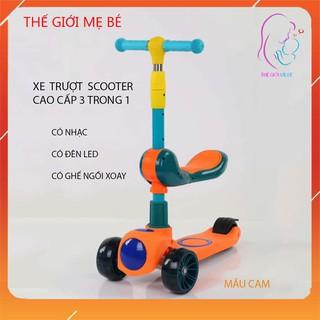 Xe trượt Scooter có nhạc có đèn led 3 trong 1, bánh phát sáng cho bé từ 3 - 8 tuổi, tải trọng lên đến 70kg thumbnail
