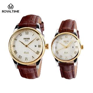 [Tặng vòng tay] Đồng hồ đôi SKMEI chính hãng SK9058.03A dây da chống nước cực tốt