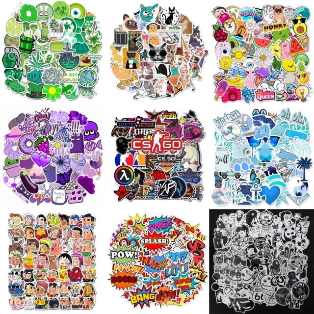 10 sticker dán nhiều kiểu trang trí vali, nón bảo hiểm, ốp lưng chống thấm nước