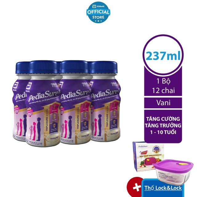 [Tặng Hộp thủy tinh LockvàLock] Bộ 12 chai Sữa nước PediaSure 237ml/chai