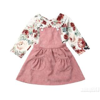 Mu♫-Autumn Toddler Baby Clothes Long Sleeve Floral Tops Shirt Bib Dress Outfits Set