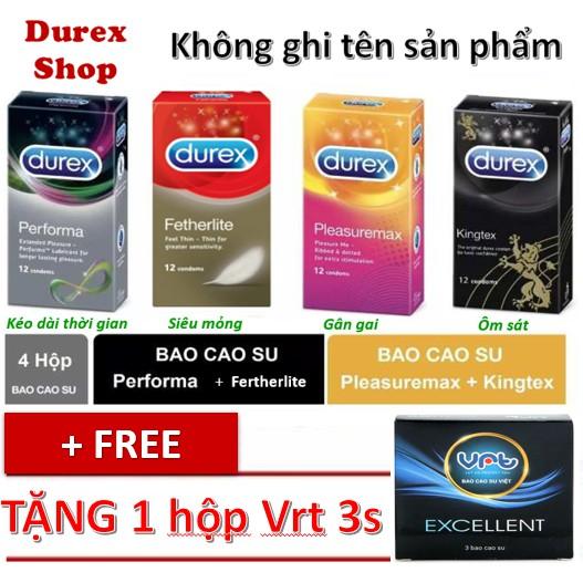 [COMBO] 4 hộp Bao cao su Durex Performa, invisible, pleasuremax, kingtex - 48 cái