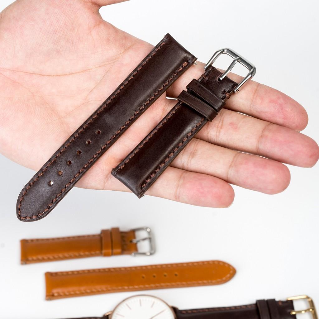 Dây đồng hồ nam da bò-khâu tay thủ công D101 size 18mm, 20mm, 22mm, 24mm - Bụi Leather