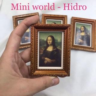 Mô hình tranh mini nàng Mona Lisa trang trí nhà búp bê tỉ lệ 1/6