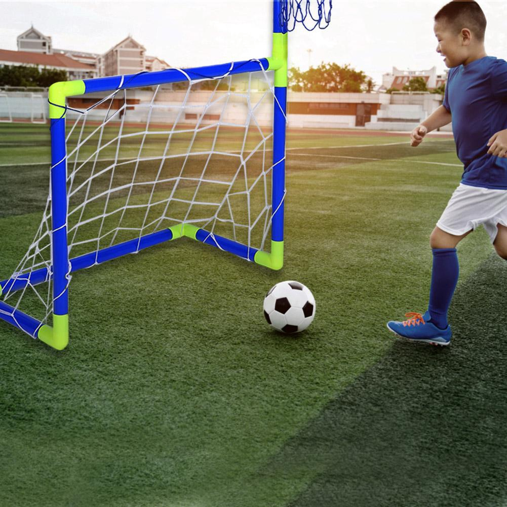 Justgogo 2 In 1 Football Basketball Set Children Portable Soccer Goal Hoop Backboard Plastic Basketball Stand Sports Toy