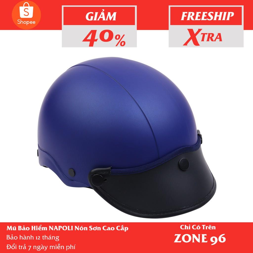 [CHÍNH HÃNG] Mũ Bảo Hiểm 1/2 Đầu NAPOLI Nón Sơn Màu Đỏ Tươi - Free Size ( 54 - 58cm)  -Bảo Hành 12 Tháng