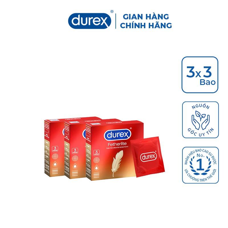 Bộ 3 hộp bao cao su Durex Fetherlite 3 bao/hộp