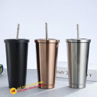 Ly giữ nhiệt 500ml có ống hút - Cốc giữ nhiệt INOX304 - Tặng Kèm Ống Hút Inox ( Màu Bạc - Vàng Hồng - Đen )