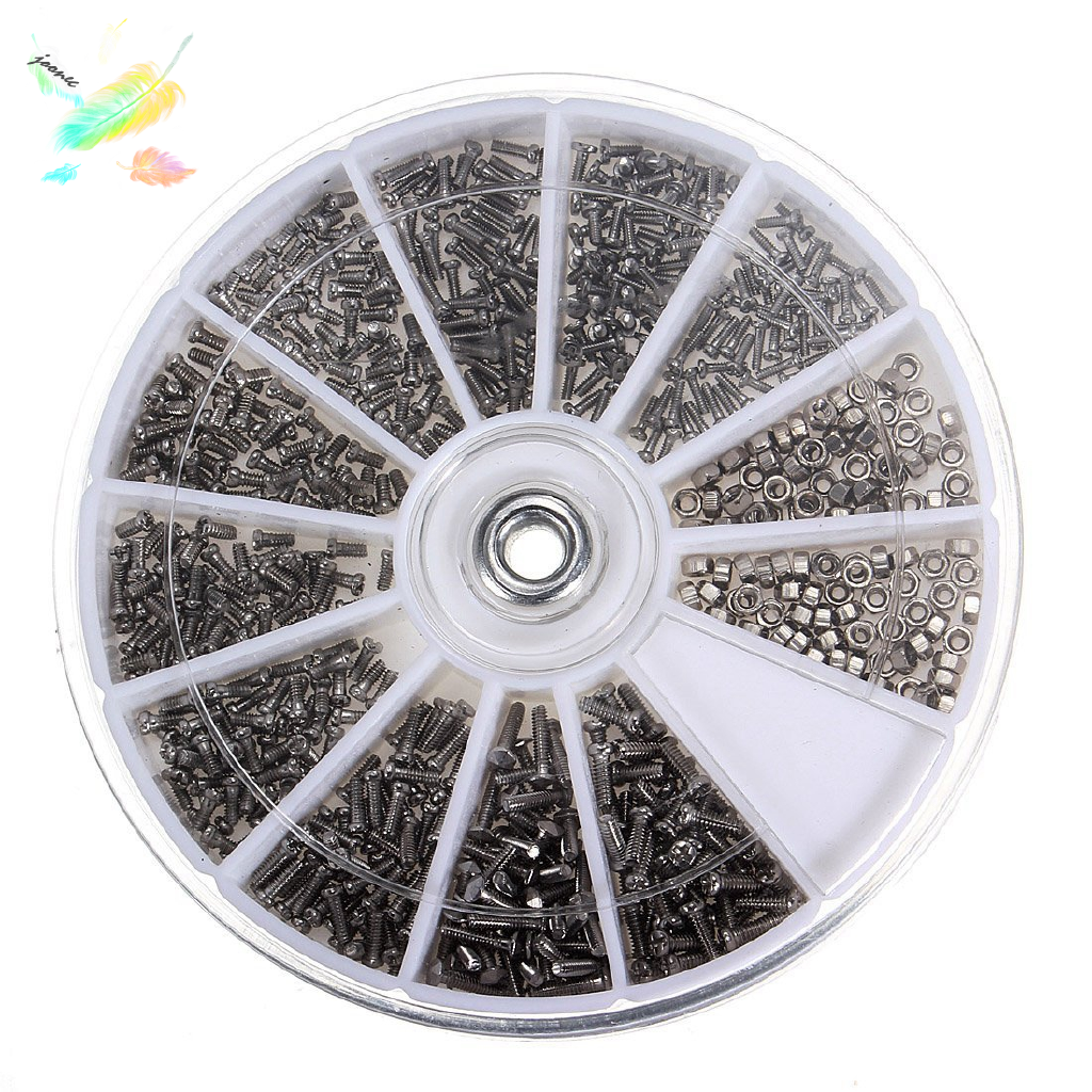 12 Styles 600pcs Stainless Steel Screws Set Machine Screws for PC Cell Phone Glasses