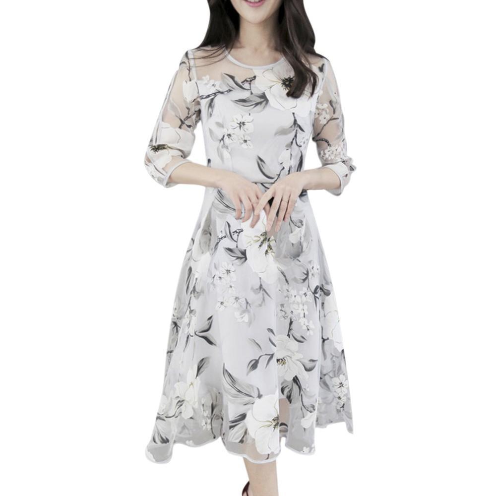 Đầm Tay Lửng Cổ Tròn Họa Tiết Hoa Phong Cách Boho Thời Trang Cho Nữ
