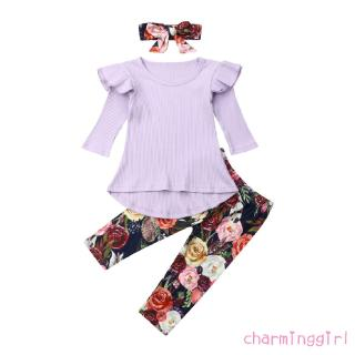 ✨NOW-Toddler Kids Baby Girl Cotton Clothes Ruffle Long Sleeve Solid Tops Dress Floral Leggings Pants Autumn Outfit