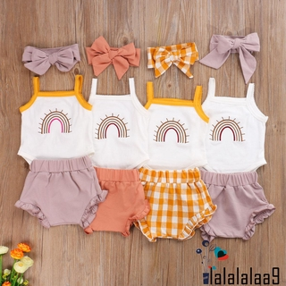 ☛☏❤Baby Summer Clothing Infant Baby Girl Boy Clothes Sleeveless Rainbow Ruffled Romper Tops High Waist Shorts Headband Outfits