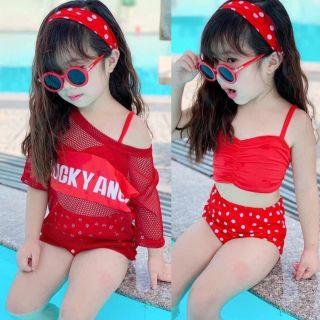 Bikini Cho Bé, Bộ Đồ Bơi Cho Bé Gái 4 Chi Tiết Hàng Cao Cấp