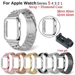 Dây Đeo Kim Loại+Khung Kim Loại Đính Đá Cho Đồng Hồ Thông Minh Apple Watch 38mm 42mm 40mm 44mm series 6 SE 5 4 3 2 1