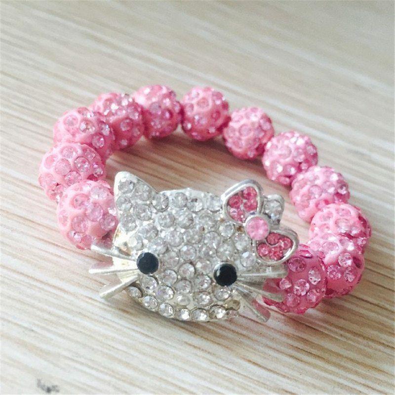 Vòng Tay Hello Kitty Đính Pha Lê Dành Cho Bé Gái