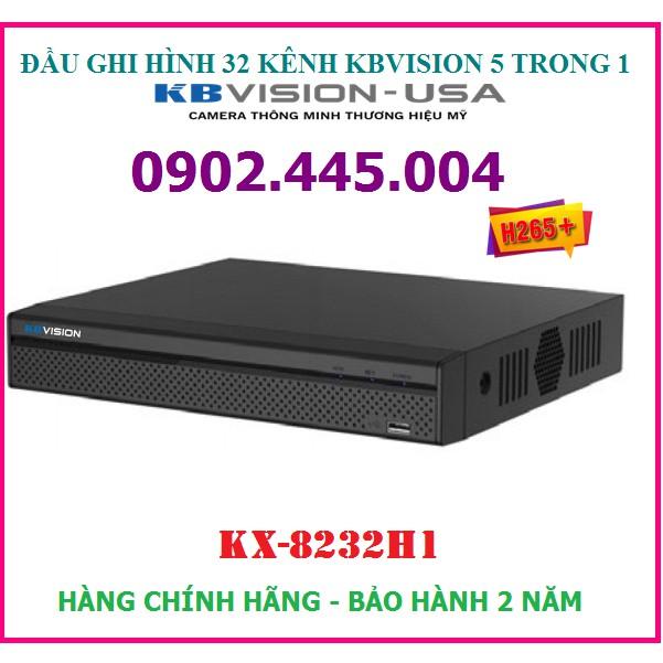 Đầu ghi hình 32 kênh KBVISION KX-8232H1, hỗ trợ gắn 2 ổ cứng, Ghi hình ở độ phân giải: 5M-N, 4M-N, 1080P, 1080N, 720P,..