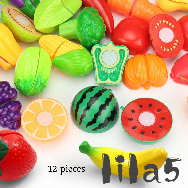 ღ☭8/12/15pc Set Kids Kitchen Fruit Vegetable Food Pretend Cutting Kids Toys Hot Sale
