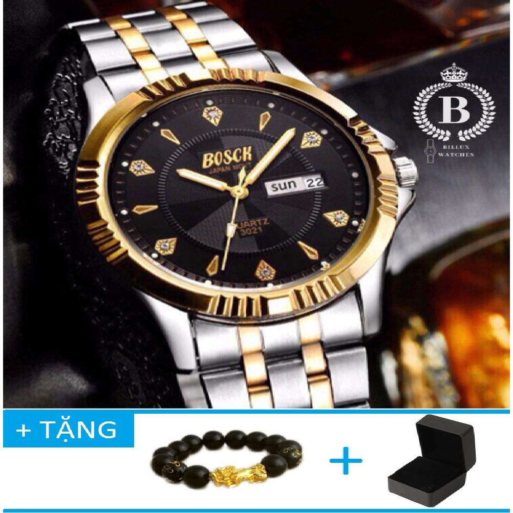 Đồng hồ Nam BOSCK 3021 [Billux] dây kim loại - 40mm (Trắng Đen) Đồng hồ Nam BOSCK 3021 [Billux] dây kim loại - 40mm (Trắng Đen) (Tặng vòng tay tỳ hưu mạ vàng) [BOKMT003]