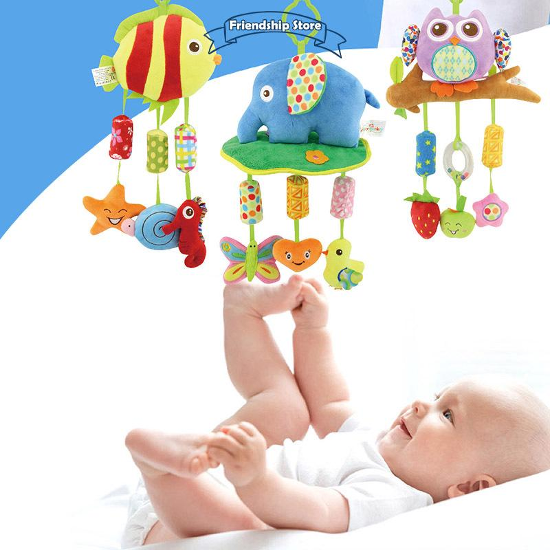 ◇FS Newborn Infant Crib Rattles Bell Toy Cartoon Animal Toddler Bed Hanging Owl/Fish/Elephant Baby Plush Wind Chime Toys