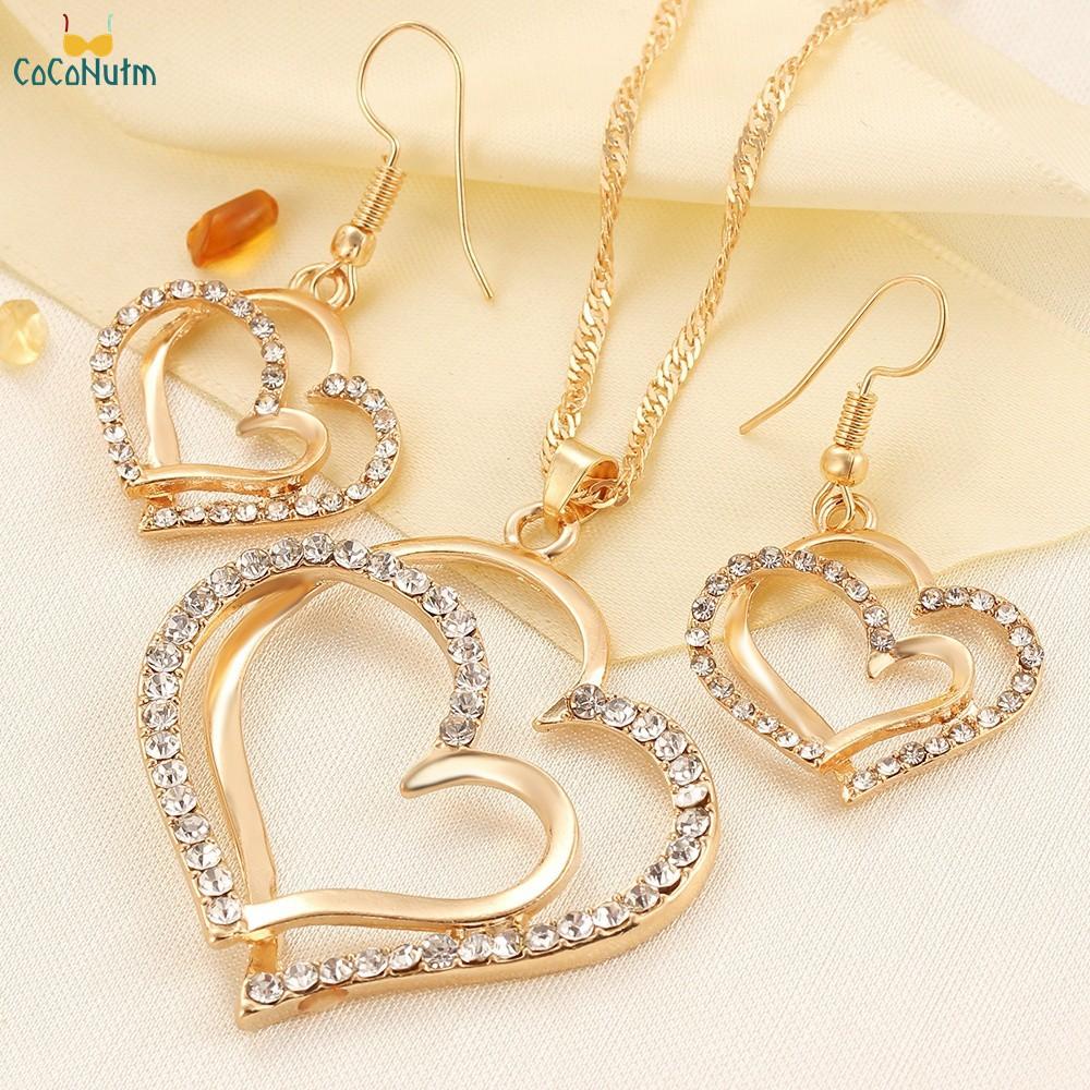 Set dây chuyền và đôi khuyên tai hình trái tim đính đá thời trang cho nữ