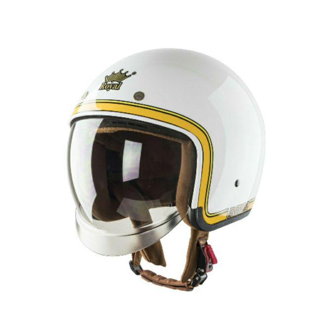 Mũ bảo hiểm Royal kính âm M139 tem V10 trắng line vàng