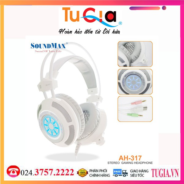 Tai nghe có dây Soundmax AH 317-Hàng Chính Hãng