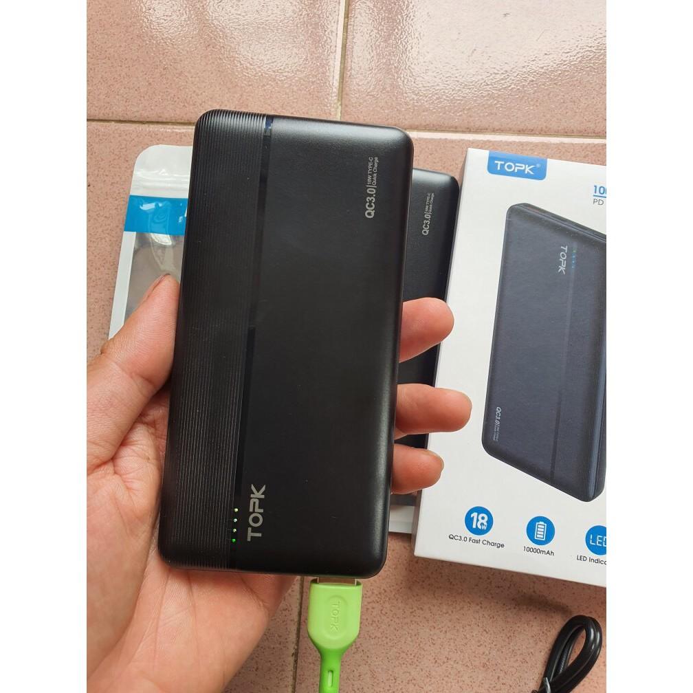 Pin sạc dự phòng TOPK I1015P 10000mAh ☀ Hỗ trợ sạc nhanh QC3.0 và PD3.0 18W  ☀ Sạc 2 thiết bị cùng lúc ☀ Mỏng và nhẹ