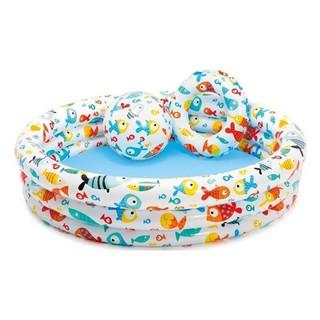 Bể bơi Intex 3 tầng ( tặng kèm bóng + phao tròn ) size 1m32* 28cm Intex 59469 – Bể bơi phao bơi trẻ em