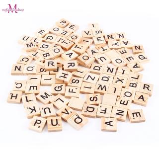 100pcs Scrabble Tiles Letters Alphabet Wooden Pieces Numbers Pendants Spelling
