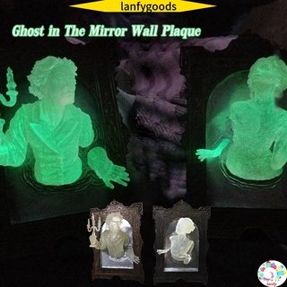 LANFY Wall Art  Decor Glowing in The Dark Figurine Spooky Wall Sculptures Ghost in The Mirror Wall Plaque Ghost Mirror Statue Creative Wall Hanger Ornatmate Home 3D