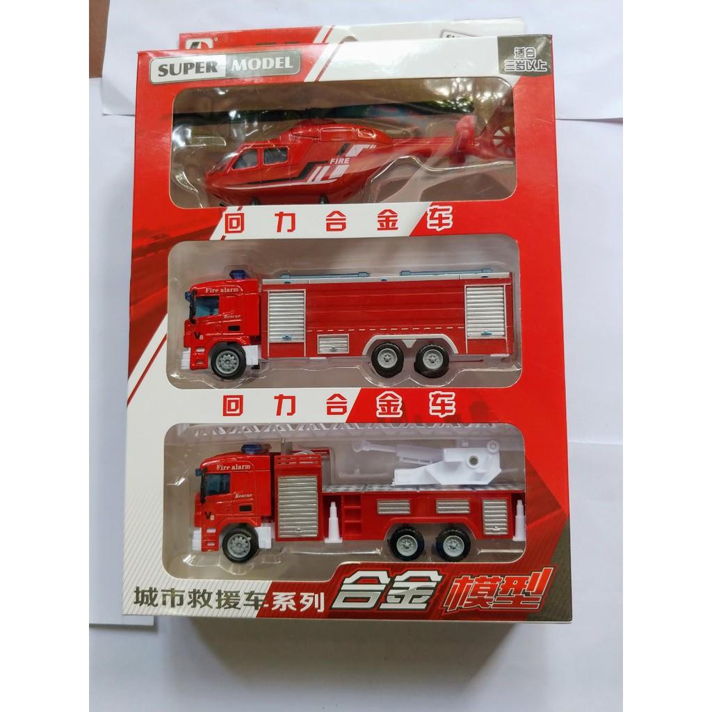Bộ 3 xe cứu hoả,đồ chơi cứu hoả bằng sắt