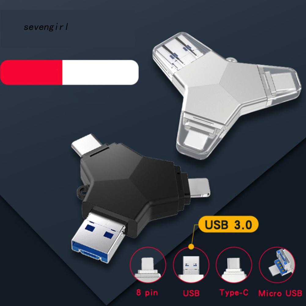 Đầu cắm chia cổng 4 trong 1 USB 3.0 Micro USB Type-C cao cấp tiện dụng