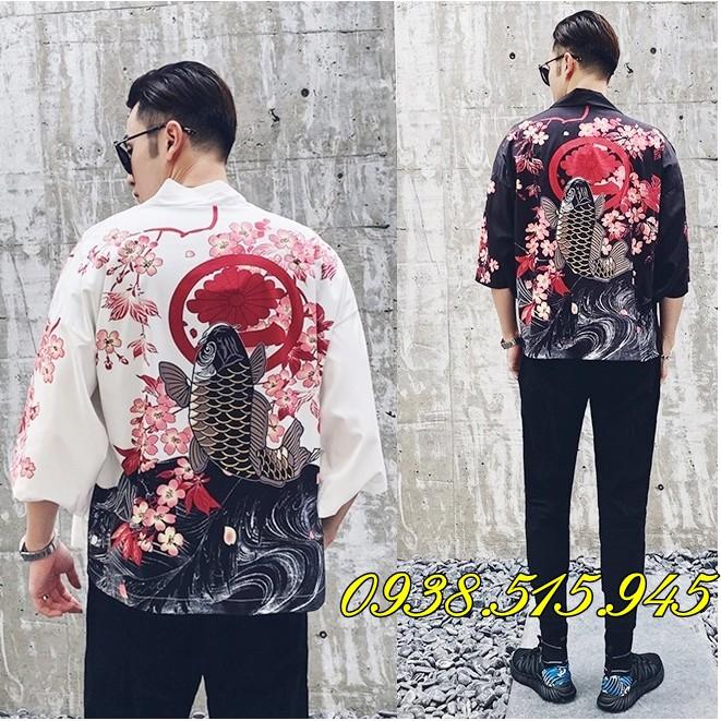 [Có SẴN đủ Size]  ÁO KHOÁC HAORI HAPPY họa tiết rồng phong cách Harajuku Nhật Bản kimono cá chép Hồng hạc chim cò