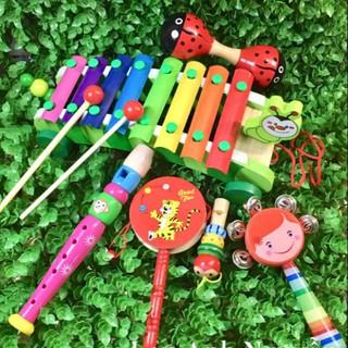 [Đồ chơi gỗ thông minh] COMBO ĐỒ CHƠI ÂM NHẠC KÍCH THÍCH THÍNH GIÁC CHO BÉ