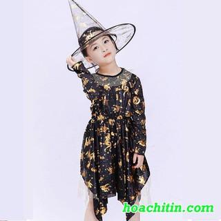 Váy Phù Thùy Nhũ Vàng Kèm Nón