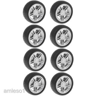 30mm Plastic 5 Spoke Front & Rear Wheel & Rubber Tires for RC Car, Set of 10