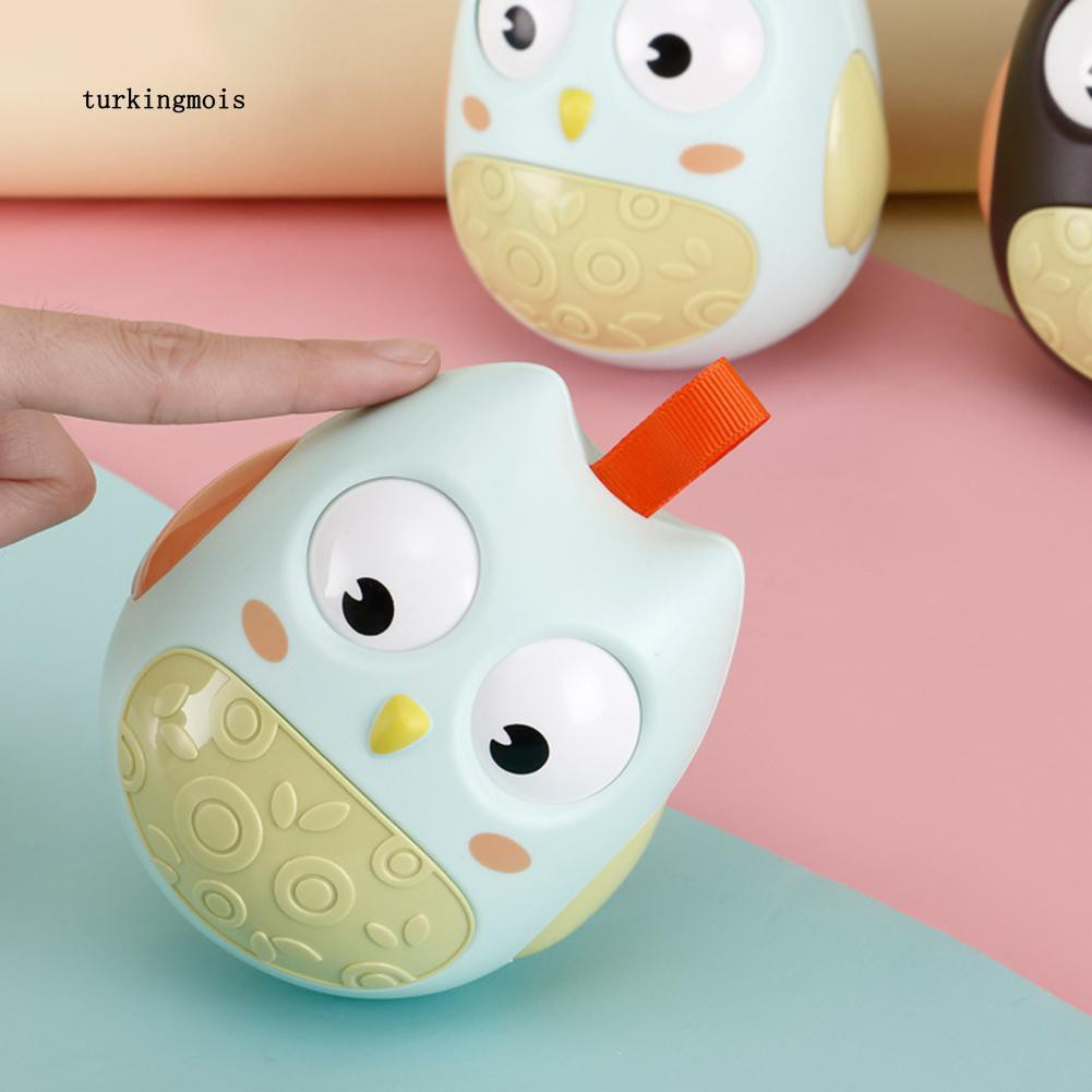 TK-Cartoon Nodding Owl Tumbler Roly Poly Built-in Bell Rattles Baby Educational Toys
