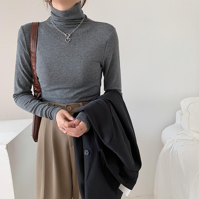 Áo Thun Dài Tay Cổ Cao Thời Trang Mùa Thu Màu Trơn 2020 Cho Nữ